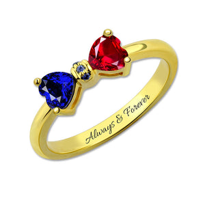 Bow Heart Personalised Birthstones Ring + FREE engraving