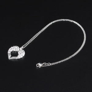 Silver Guardian Angel Wings Heart Necklace