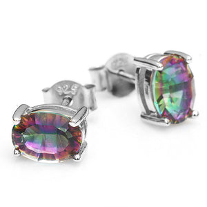 Rainbow Mystic Topaz Earrings Studs Solid 925 Sterling Silver