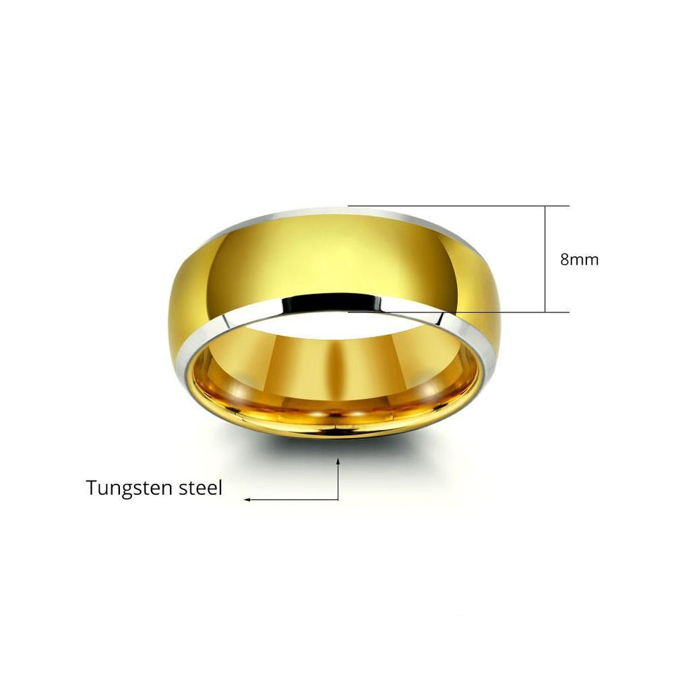 Mens Classic Golden Tungsten Ring with Complimentary Engraving
