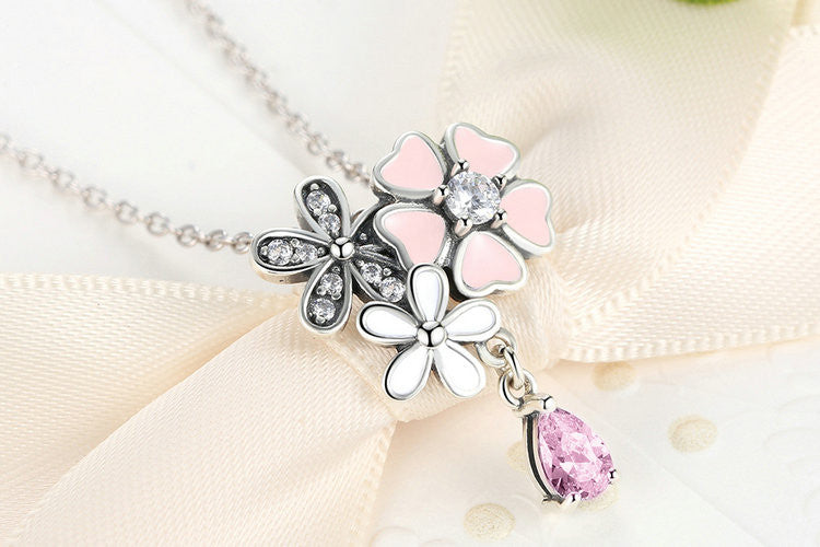 925 Sterling Silver Pink Heart Blossom Cherry Flower Necklace