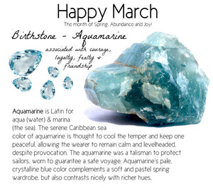 Luxury Vintage Aquamarine March Birthstone Crystal Rings