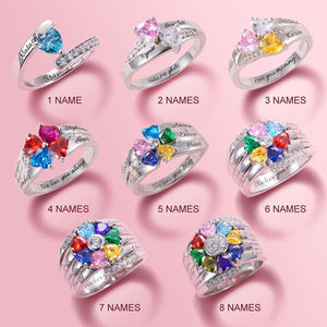 Family Birthstone Ring - Heart