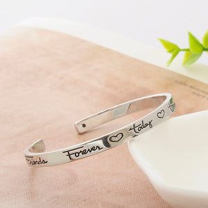 "Engraved Love Heart ""Friend Forever Today Tomorrow"" Bracelet"