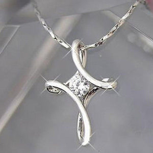 Twisted Silver Cross Necklace