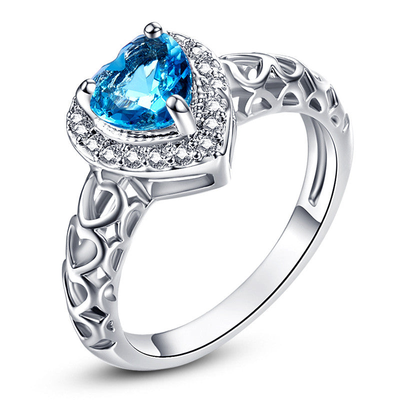 Heart Blue Topaz White CZ Diamond 18K White Gold Ring