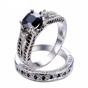 10KT White Gold Exquisite Black Sapphire Crystal Ring Set