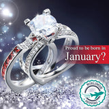 Silver Garnet (January) Birthstone Ring - White Gold