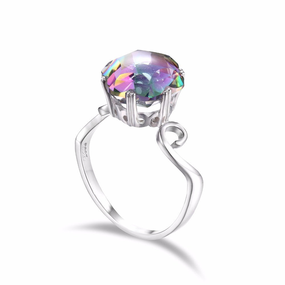 3 Ct Genuine Mystic Topaz Heart Ring .925 Sterling Silver
