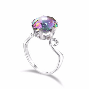 The Mystique Palace 3.2ct Genuine Rainbow Fire Mystic Topaz Ring Solid 925 Sterling Silver