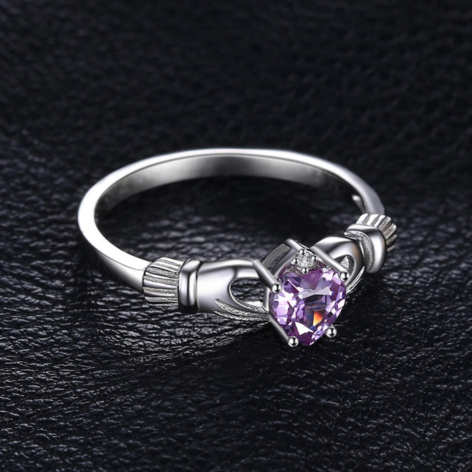 Exquisite June (Swiss) Alexandrite Gemstone Irish Claddagh Ring