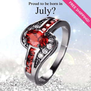 July Birthstone Ruby Ring 10KT Black Gold Filled CZ Crystal Ring