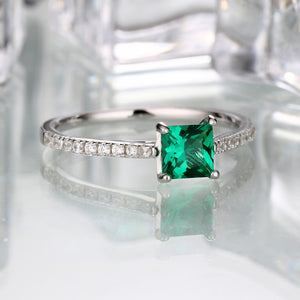 Intricate Emerald Ring Genuine May Birthstone Ring with diamond accents