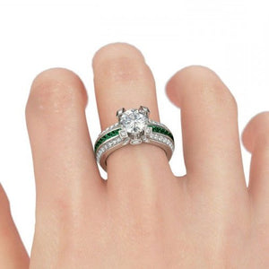 Interchangeable (May) Emerald Birthstone Ring Set