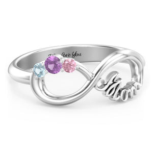 3 Stones Infinite Love Birthstone Ring + FREE Gift Box