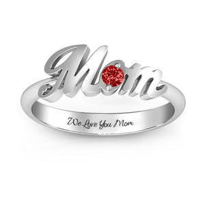 """Mom""Personalized Gemstone Ring"