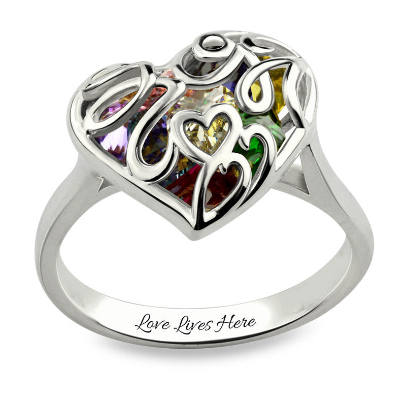 Exquisite Stones In A Heart Birthstone Cage Ring ( up to 8+ birthstones)