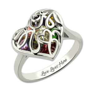 Exquisite Stones In A MoM Heart Birthstone Cage Ring ( up to 8+ birthstones)