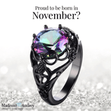 November Sapphire Birthstone Black Gold  Ring