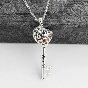 No.1 Heart Cage Key Necklace (up to 8 birthstones)