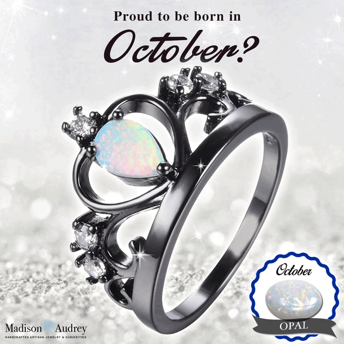 October Birthstone - Opal Crown Ring