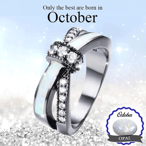 October Birthstone Black Gold Opal Ring