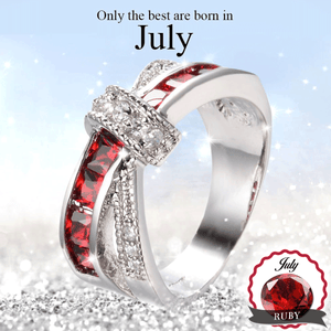 Limited Edition July Ruby Gold Filled Ring