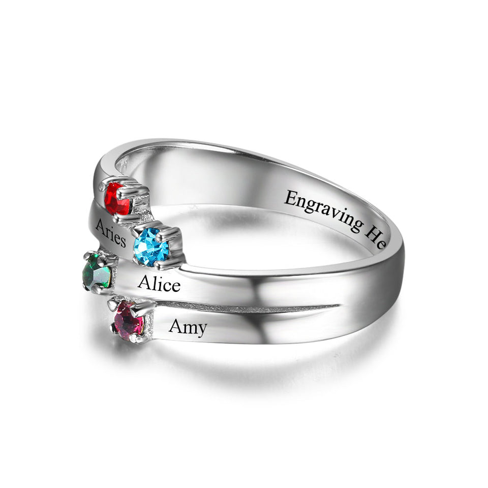 Cascade 4 Birthstone Mothers Ring