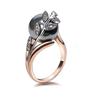 Rose gold ring with Gray Pearl leaf accent ( June Birthstone ) Ring
