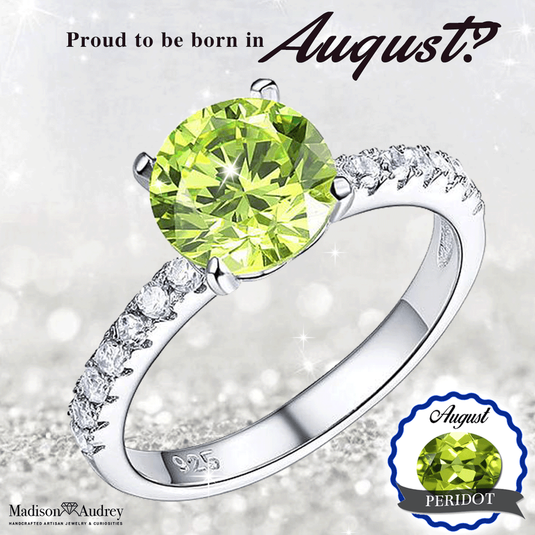 August Birthstone Perfect Round Brilliant Cut Peridot Ring