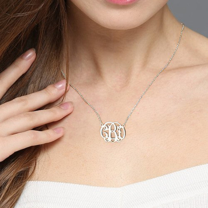 Custom 14K Rose Gold / Sterling Silver Monogram Name Pendant + FREE Gift box