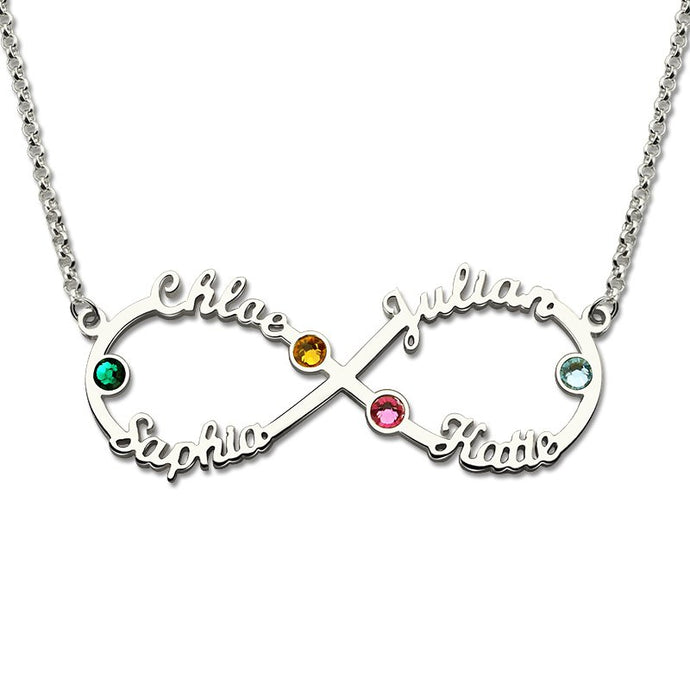 Infinity Love For Four Names & Stones Necklace
