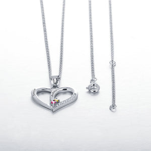Personalized Engrave Necklace DIY Birthstone Heart 925 Sterling Silver