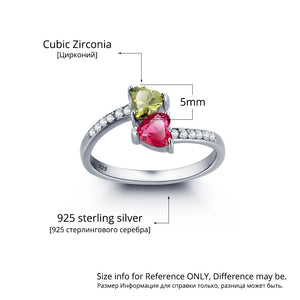Dual Heart Birthstone Promise Ring with Shimmering Paved Diamond Accents
