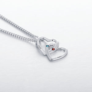 Merging Hearts Dual Birthstone Necklaces