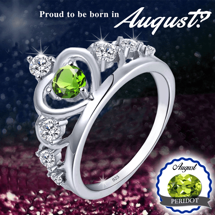 August Birthstone 925 Silver Peridot Princess Ring