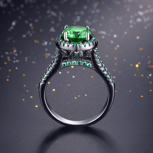 Exquisite Mystic Green Emerald Ring