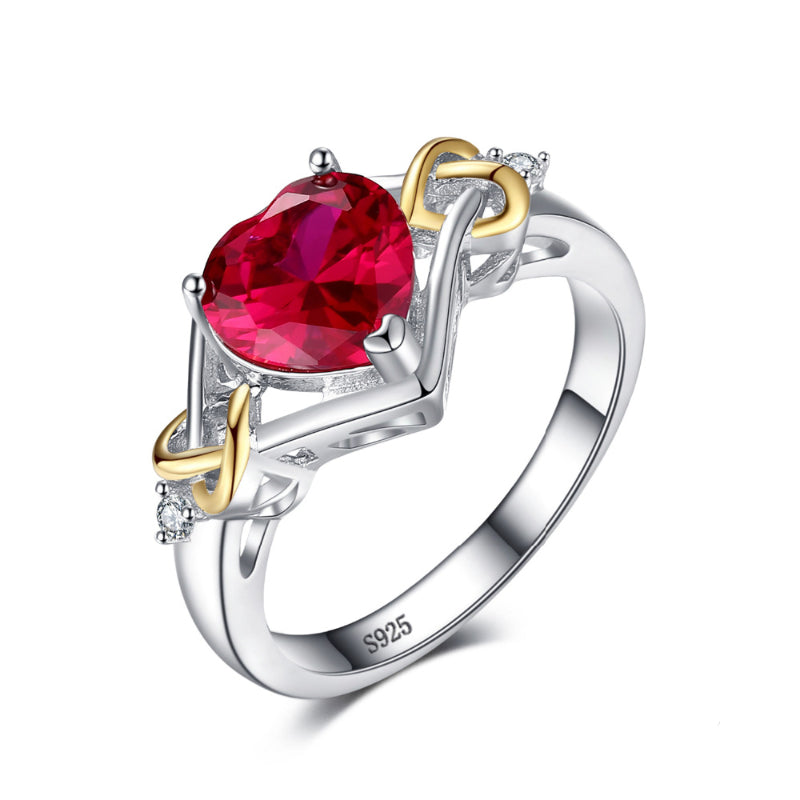 The Love Knot Heart 2.5ct July Ruby Birthstone with 18K Yellow Gold Accents
