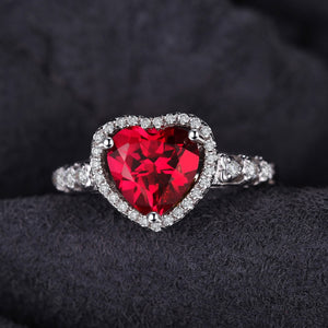 2.7ct Ruby Heart July Birthstone Halo Ring