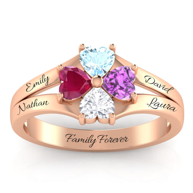 Family Together 4 Hearts Birthstone Ring
