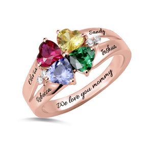 Four Hearts Forever Clover Ring with Twin Accents