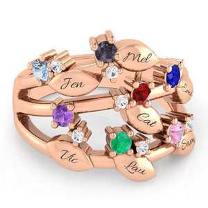 7 Birthstone Family Leaf Ring with Diamond Accents
