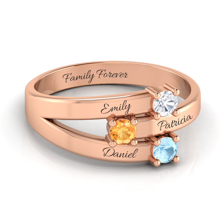 Triple Circle Family Birthstone Ring