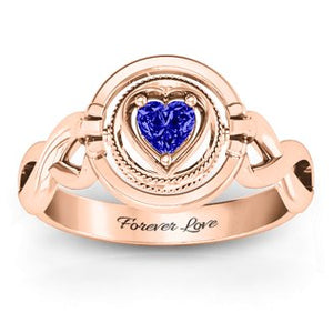 Dual Halo & Heart Twist 360 Birthstone Ring