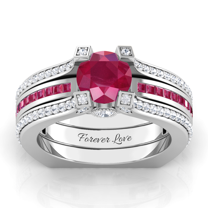 Ruby Interchangeable Sterling Silver July Birthstone Ring