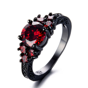 Audrey Vintage Black Gold Zircon July Ruby Birthstone Ring