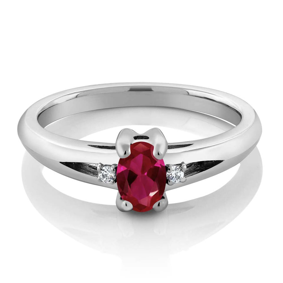 Stunning 0.71 Ct Oval Red Ruby (July Birthstone) with Dual Diamond Accents Ring