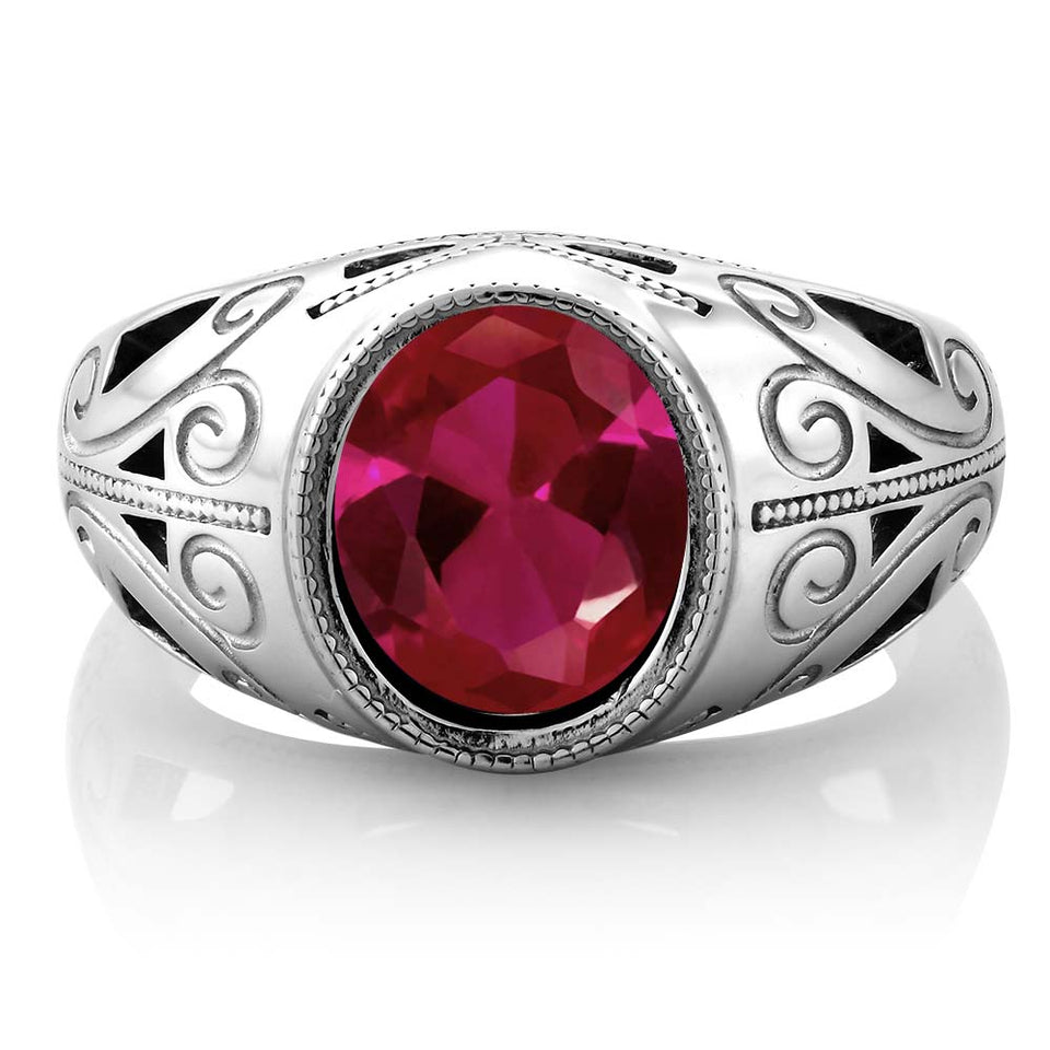 6.40 Ct Oval July Ruby Birthstone Ring (For Him)