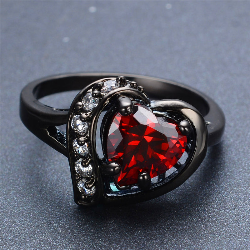 Pure Heart Cut CZ Diamond Garnet Birthstone Ring - Black Gold
