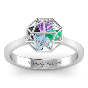 Family Diamond Cage Ring with Encased Heart Stones ( 1-4 Stones)